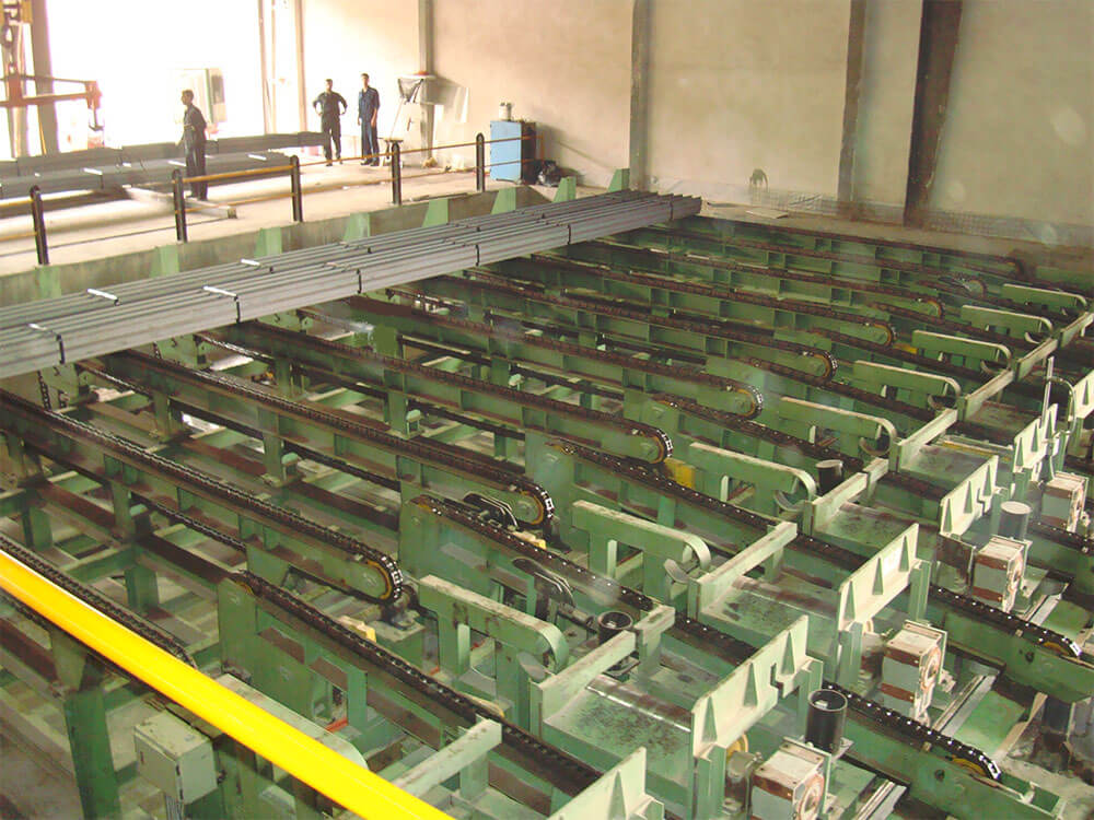 Hot section mill packaging area finishing rolled beams